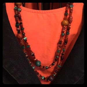 Jewelry - Beaded necklace natural stone and acrylic beads